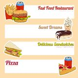 Fast food menu banner Royalty Free Stock Images