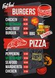Fast food menu. Black fast food menu. Burger and pizza Royalty Free Stock Photography