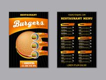 Fast food menu brochure design on a dark background vector template in A4 size. flyer, baner and Layout Design stock illustration