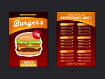 Fast food menu brochure design on a dark red background vector template in A4 size. flyer, baner and Layout Design. food concept. royalty free illustration