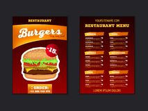 Fast food menu brochure design on a dark red background vector template in A4 size. flyer, baner and Layout Design. food concept. stock illustration