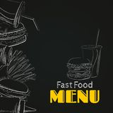 Fast food menu. Chalk silhouettes of burgers, fries, drinks and ketchup on a blackboard. Vector illustration of menu template with fast food silhouettes drawn Stock Images