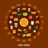 Fast Food Menu Circle Composition Poster Stock Photos