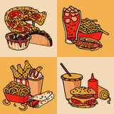 Fast food menu concept flat Royalty Free Stock Images