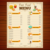 Fast Food Menu. With decorative frame vignettes snack dishes beverage and pastry on wooden background vector illustration Royalty Free Stock Photo