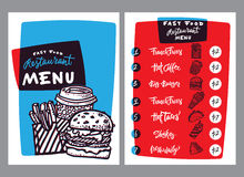 Fast food menu design and fast food hand drawn vector illustration. Restaurant or cafe menu template with burger sketch Royalty Free Stock Images