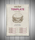 Fast food menu design template hand drawn vector Royalty Free Stock Images