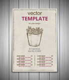 Fast food menu design template hand drawn vector Royalty Free Stock Photography