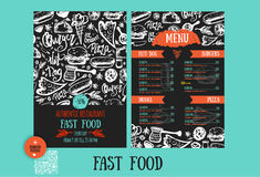 Fast food menu design template with hand-drawn vector illustration. Cover of restaurant menu with burger, pizza, hot dog Stock Images