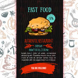 Fast food menu design template with hand-drawn vector illustration. Cover of restaurant menu with burger, pizza, hot dog Royalty Free Stock Photo