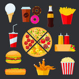 Fast food menu drinks and desserts Stock Photography