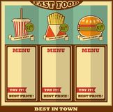 Fast food menu. Stock Image