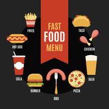 Fast food menu in flat style Stock Photography