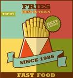 Fast food menu. Hot fries. Royalty Free Stock Images