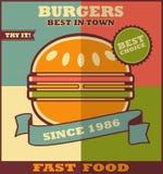 Fast food menu. Hot Hamburger. Royalty Free Stock Photography