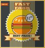 Fast food menu. Hot Hamburger. Fast food menu. Hot Hamburger on a colorful background Stock Images