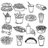 Fast food menu icons black outline Royalty Free Stock Image