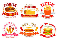 Fast food menu icons, labels, emblems set. Fast food menu of vector snack meal, drink, dessert icons. Emblem sweet donut, spicy mexican burrito, french fries Royalty Free Stock Photo