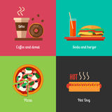 Fast food menu icons of pizza, burger, hot dog, coffee paper cup and chocolate donut Stock Photography