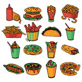 Fast food menu icons set color Stock Photography