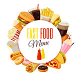 'Fast food menu' label with hamburger, french fries, coffee, sandwich, popcorn, ice cream, pizza, taco and so. Royalty Free Stock Photo