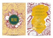 Fast food menu layout with hand drawn graphic. Cafe price catalog, junk food card with snack linear sketches. Fast foodtemplate with pizza, hot dog, chicken Royalty Free Stock Images
