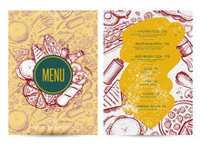 Fast food menu layout with hand drawn graphic. Cafe price catalog, junk food card with snack linear sketches. Fast food vector template with pizza, hot dog royalty free illustration