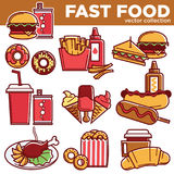 Fast food menu meals burgers, sandwiches, desserts vector flat icons set Stock Image