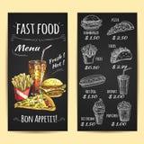 Fast food menu poster. Chalk sketch on blackboard Royalty Free Stock Image