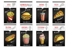 Fast food menu price poster with description. Fast food menu poster with description and price label. sketch icons elements of fries, hamburger, drinks, pizza royalty free illustration