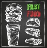 Fast food, menu, ręka rysująca kredowa deska Obraz Stock