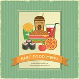 Fast food menu. Retro fast food menu poster with ribbon and sandwich french fries drink vector illustration Royalty Free Stock Photos