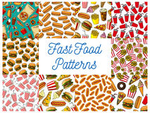 Fast food menu seamless patterns set royalty free illustration