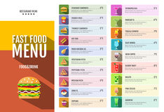 Fast food menu. Set of food and drinks icons. Flat style design vector illustration