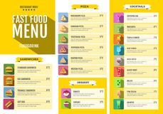 Fast food menu. Set of food and drinks icons. Flat style design. Royalty Free Stock Photography