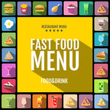 Fast food menu. Set of food and drinks icons. Flat style design. Royalty Free Stock Image