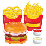 Fast food menu set, vector illustration Stock Photography