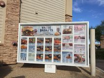 Fast Food Menu Sign. Outside of a drive thru a Restaurant Stock Photo