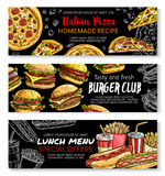 Fast food menu special offer chalkboard banner set Royalty Free Stock Image