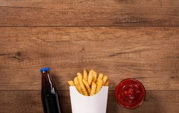 Fast food menu on the table - with copy space Royalty Free Stock Photo