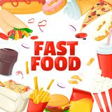 Fast food menu template. Design with coke, hamburger, popcorn, ice cream, crisp. Cartoon vector. Fast food menu template. Cartoon vector illustration stock illustration