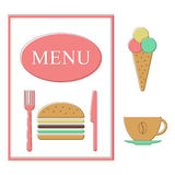 Fast food menu template. Isolated on white background. stroke-style design modern vector illustration Royalty Free Stock Photos