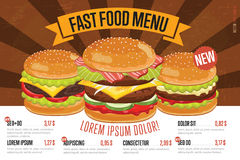Fast food menu template. Stock Image