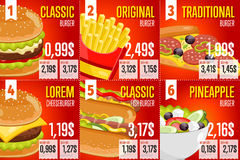 Fast food menu template. Royalty Free Stock Image
