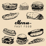 Fast food menu in vector. Burgers, hot dogs, sandwiches illustrations. Snack bar, street restaurant, cafe icons. Fast food menu in vector. Burgers, hot dogs Stock Photo