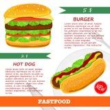 Fast food menu vector illustration. Royalty Free Stock Image