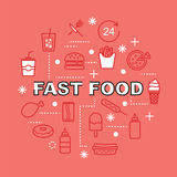 Fast food minimal outline icons Stock Images