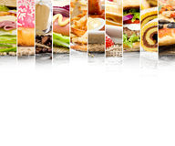 Fast Food Mix. Photo of mix stripes with various kinds of fast, sweet food and drinks; white space for text Stock Photo