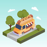 Fast food motorhome with hot dog isometric vector Stock Images