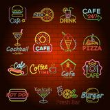 Fast food neon shop sign icons set, flat style. Fast food neon glow shop sign icons set. Flat illustration of 16 fast food neon glow shop sign vector icons for Royalty Free Stock Photos